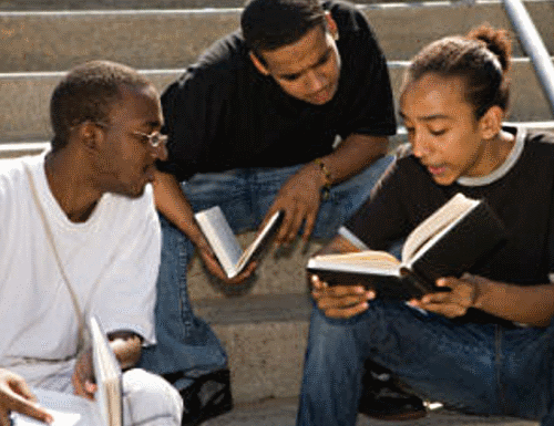 Three Black Male Students Studying Together