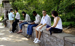 image of college students relaxing